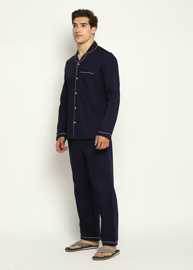 Navy Cotton with White Piping Men's Night Suit