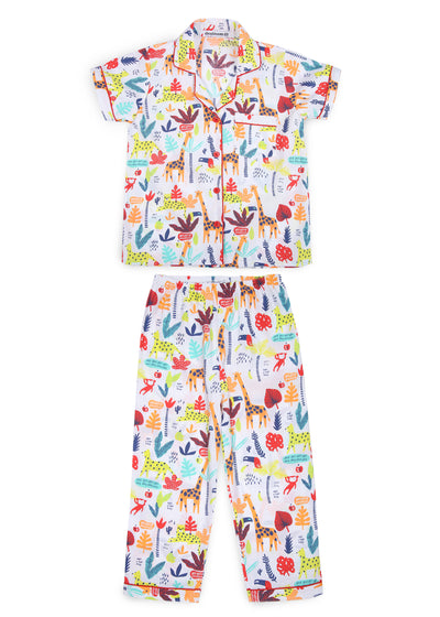 Animal Safari Print Short Sleeve Kids Night Suit