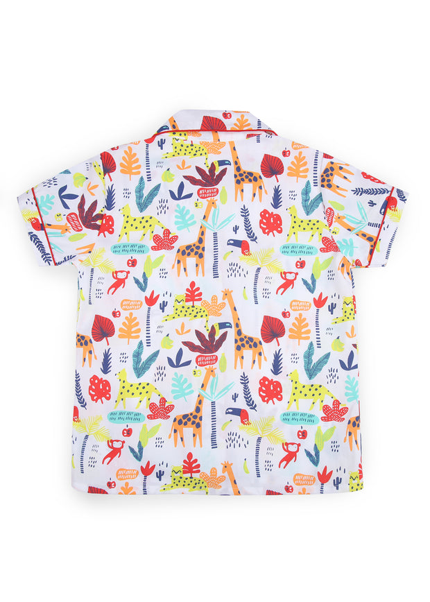 Animal Safari Print Short Sleeve Kids Nightsuit