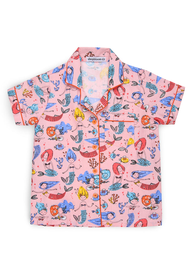 Mermaid Print Short Sleeve Kids Night Suit