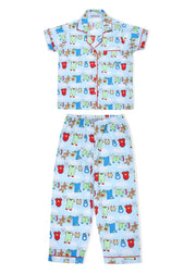 Cute Print Short Sleeve Kids Night Suit