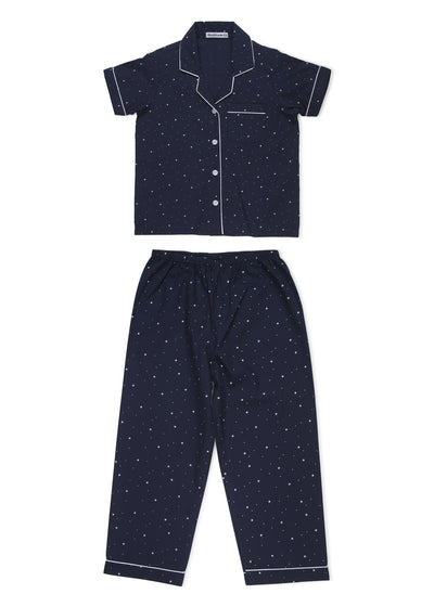 Star Print Short Sleeve Kids Night Suit