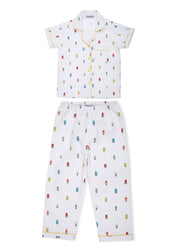 Colorful Popsicle Print Short Sleeve Kids Night Suit