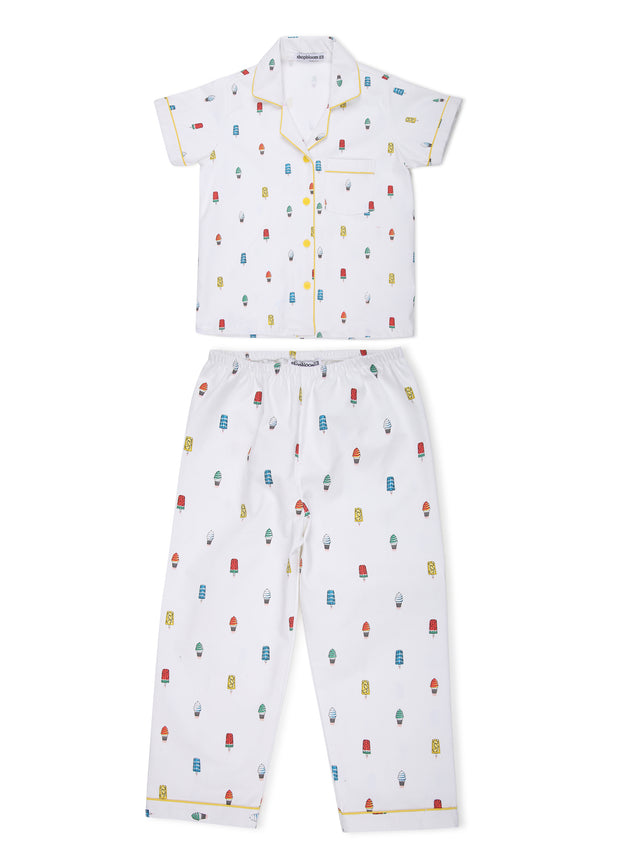 Colorful Popsicle Print Short Sleeve Kids Nightsuit