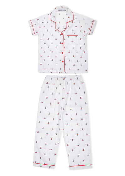 Ship Print Short Sleeve Kids Nightsuit