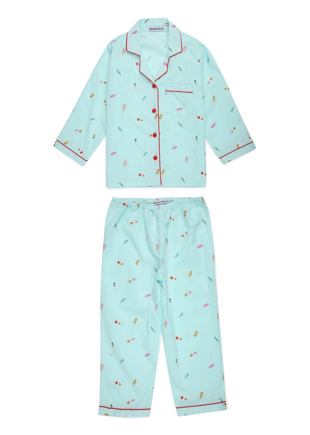 Popsicle Print Long Sleeve Kids Nightsuit