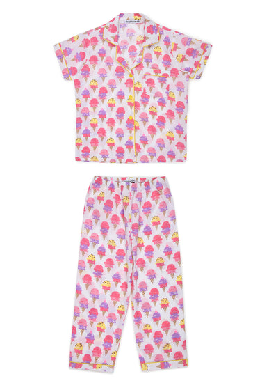 Ice Cream Cones Print Short Sleeve Kids Nightsuit