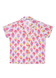 Ice Cream Cones Print Short Sleeve Kids Night Suit