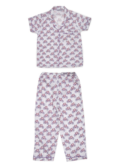 Bicycle Print Short Sleeve Kids Nightsuit
