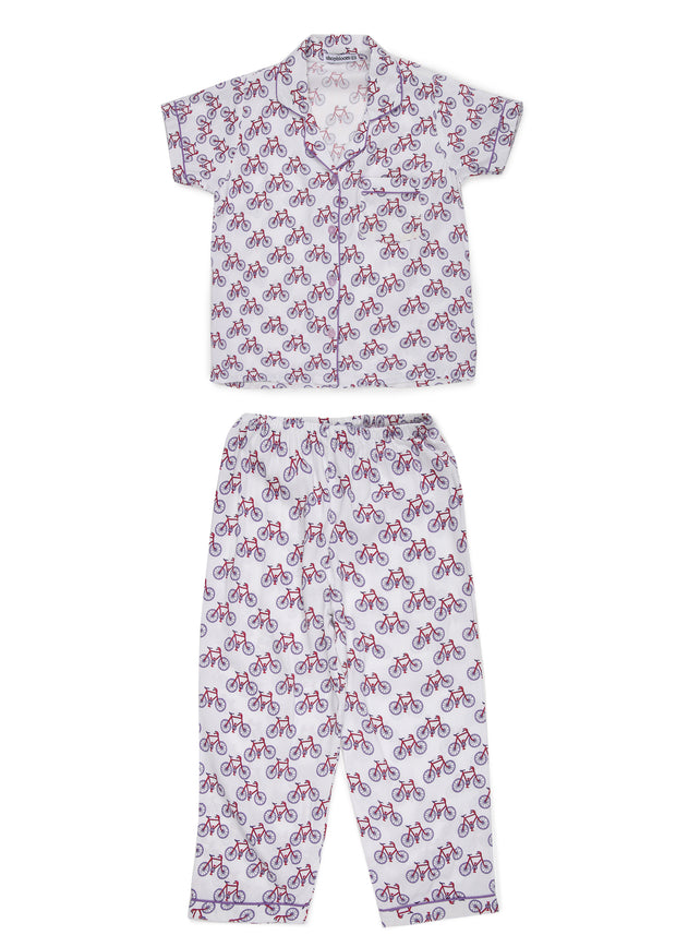 Bicycle Print Short Sleeve Kids Night Suit