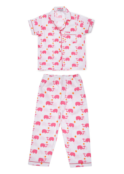 Pink Elephant Print Short Sleeve Kids Nightsuit