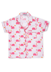 Pink Elephant Print Short Sleeve Kids Night Suit