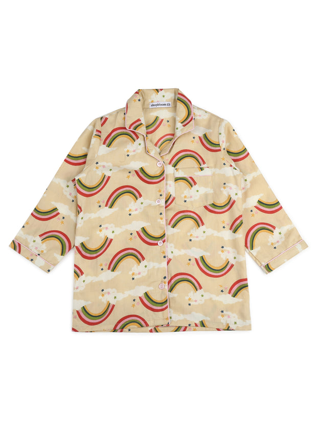 Rainbow Print Long Sleeve Kids Night Suit