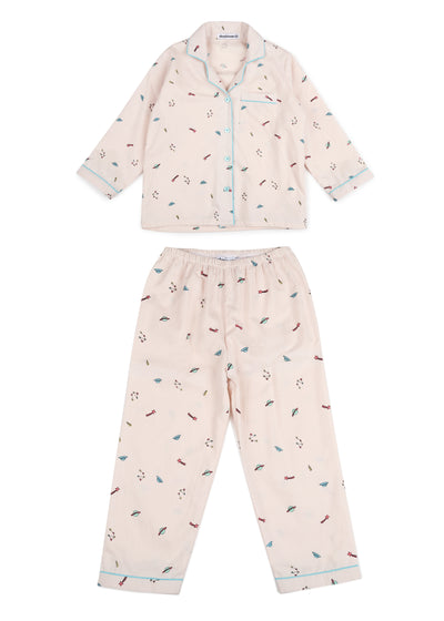 Galaxy Print Long Sleeve Kids Nightsuit