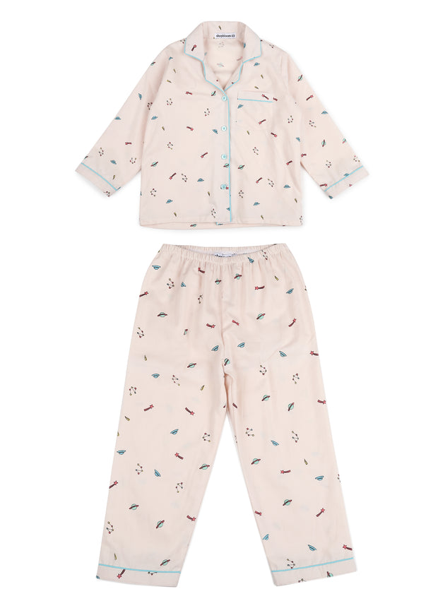 Galaxy Print Long Sleeve Kids Night Suit