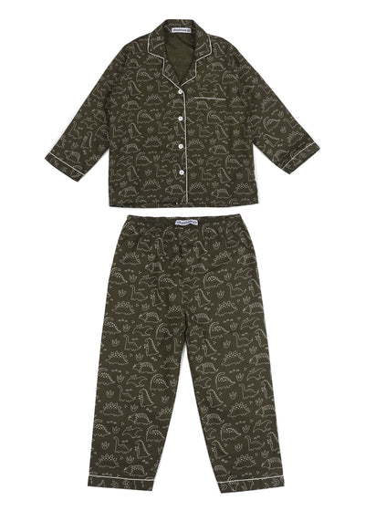 Dinosaur Print Long Sleeve Kids Nightsuit
