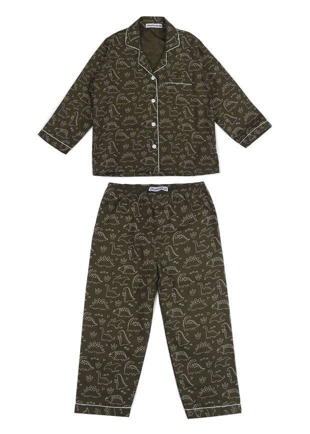 Dinosaur Print Long Sleeve Kids Night Suit