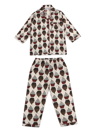Cupcake Print Long Sleeve Kids Nightsuit