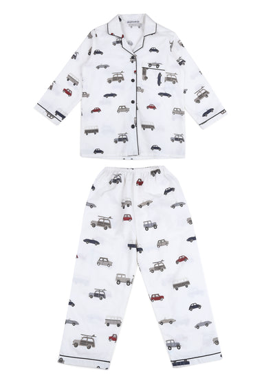 Lets go for a Drive Print Long Sleeve Kids Nightsuit