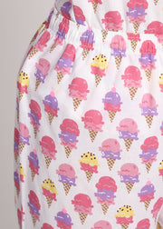 Ice Cream Cones Print Short Sleeve Women's Night Suit