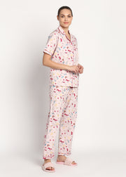 Pink Unicorn Print Short Sleeve Women's Night Suit