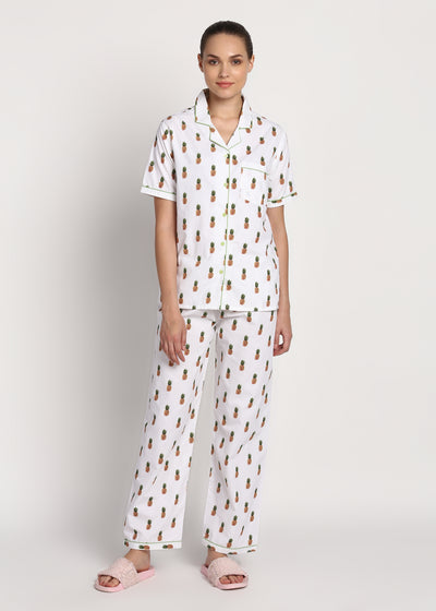 I Am A Fine Apple Print Short Sleeve Women's Night Suit