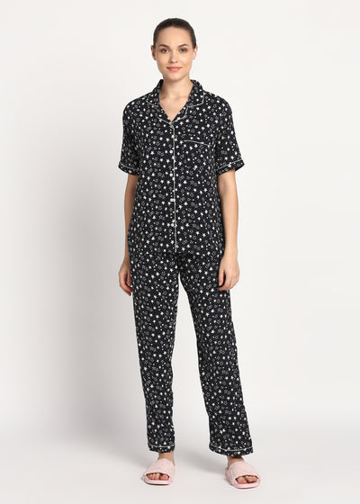 Sparkle Like a Star Print Short Sleeve Nightsuit