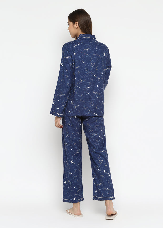 Blue Star and Moon Print Cotton Flannel Long Sleeve Women's Night Suit