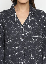 Grey Star and Moon Print Cotton Flannel Long Sleeve Women's Night Suit