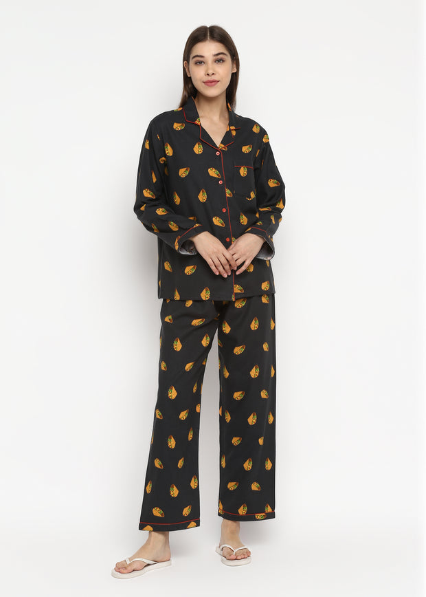 I love Tacos Print Cotton Flannel Long Sleeve Women's Night Suit