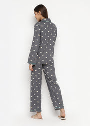 Polar Bear Print Cotton Flannel Long Sleeve Women's Night Suit