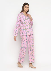 Baby Pink Unicorn Print Long Sleeve Women's Night Suit