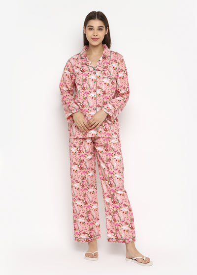 Pink Flamingo Flower Print Long Sleeve Women's Night Suit