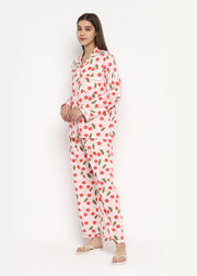 Cherry On Top Print Long Sleeve Women's Night Suit