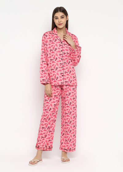 Pink Toucan Bird Print Long Sleeve Women's Night Suit