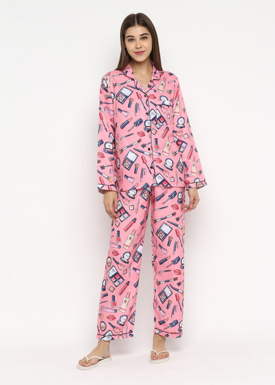 Make Up Print Long Sleeve Women's Night Suit