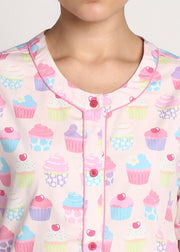 Cupcake Print Round Neck Short Sleeve Women's Night Suit