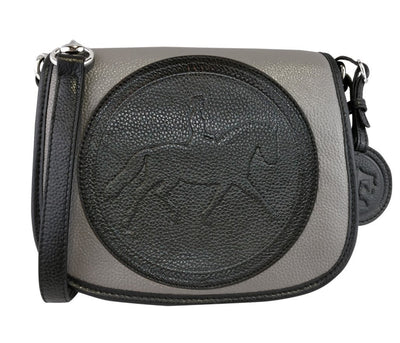 Tucker Tweed Leather Handbags Grey/Black / Dressage The Camden Crossbody: Dressage