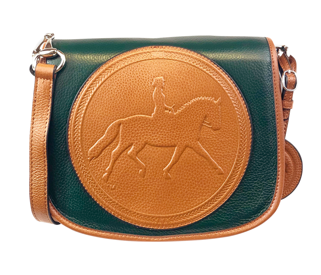 Tucker Tweed Leather Handbags Hunter Green/Chestnut / Dressage The Camden Crossbody: Dressage