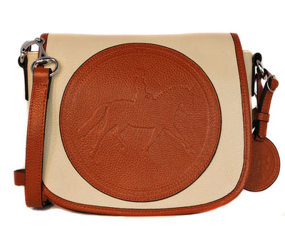Tucker Tweed Leather Handbags Ivory-Chestnut / Dressage The Camden Crossbody: Dressage