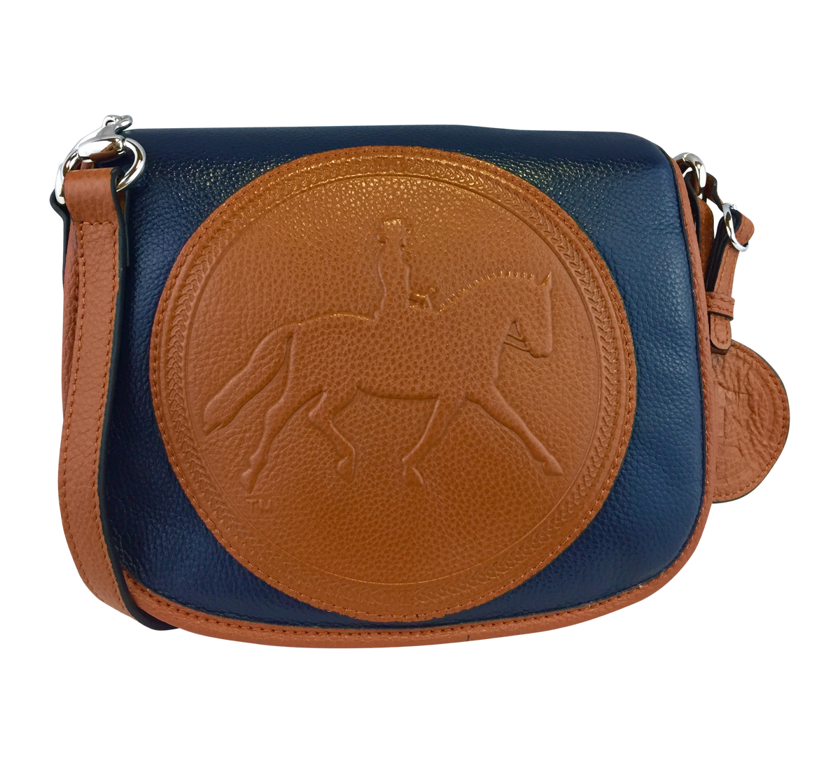 Tucker Tweed Leather Handbags Navy/Chestnut / Dressage The Camden Crossbody: Dressage