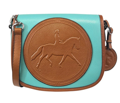 Tucker Tweed Leather Handbags Turquoise/Chestnut / Dressage The Camden Crossbody: Dressage