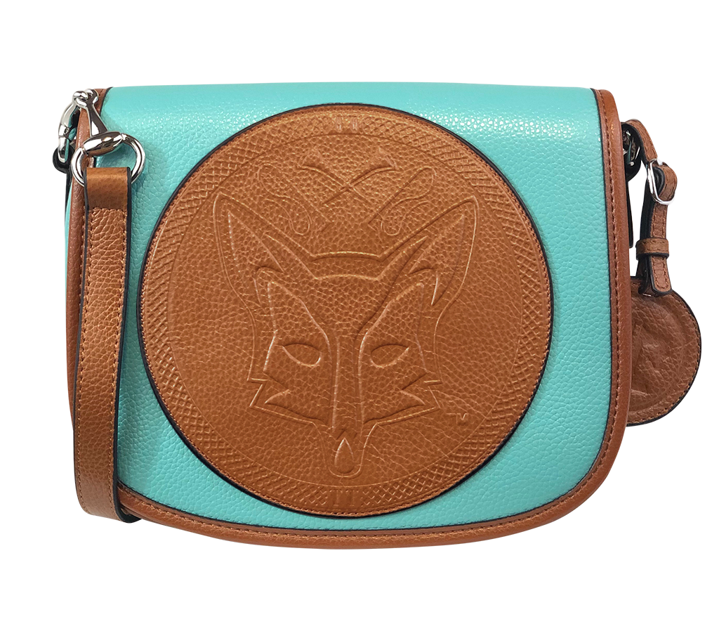Tucker Tweed Leather Handbags Turquoise/Chestnut / Foxhunting The Camden Crossbody: Foxhunting