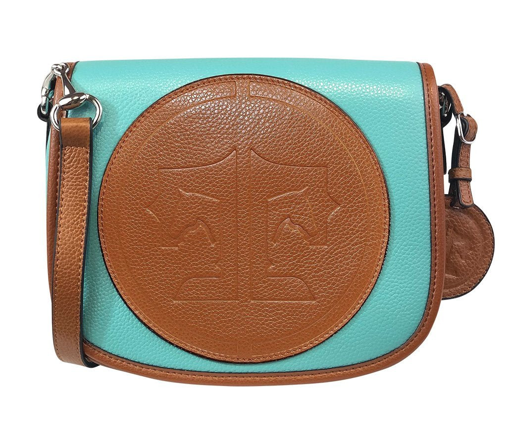 Tucker Tweed Leather Handbags Turquoise/Chestnut / Signature The Camden Crossbody: Signature