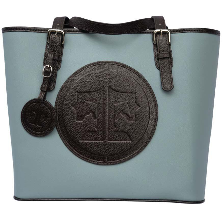 Tucker Tweed Leather Handbags Sky/Dark Chocolate The James River Carry All: Signature