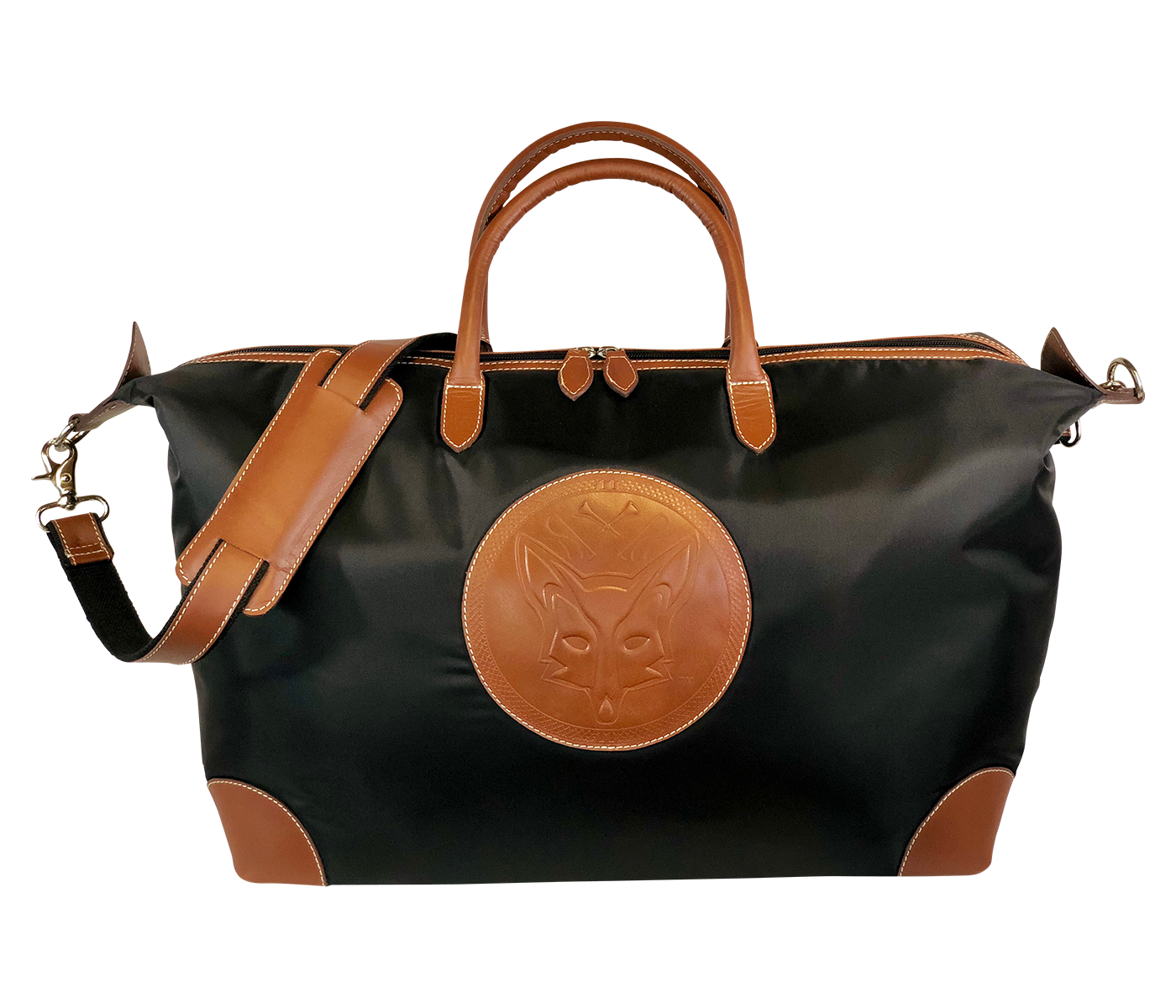 Tucker Tweed Leather Handbags Black/Chestnut / Fox The Tryon Travel Overnight: Foxhunting