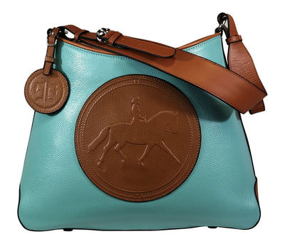 Tucker Tweed Leather Handbags Turquoise/Chestnut / Dressage The Tweed Manor Tote: Dressage