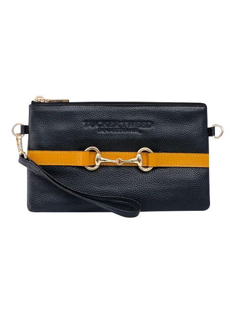 Tucker Tweed Leather Handbags Black/Gold SCAD The Wellington Wristlet