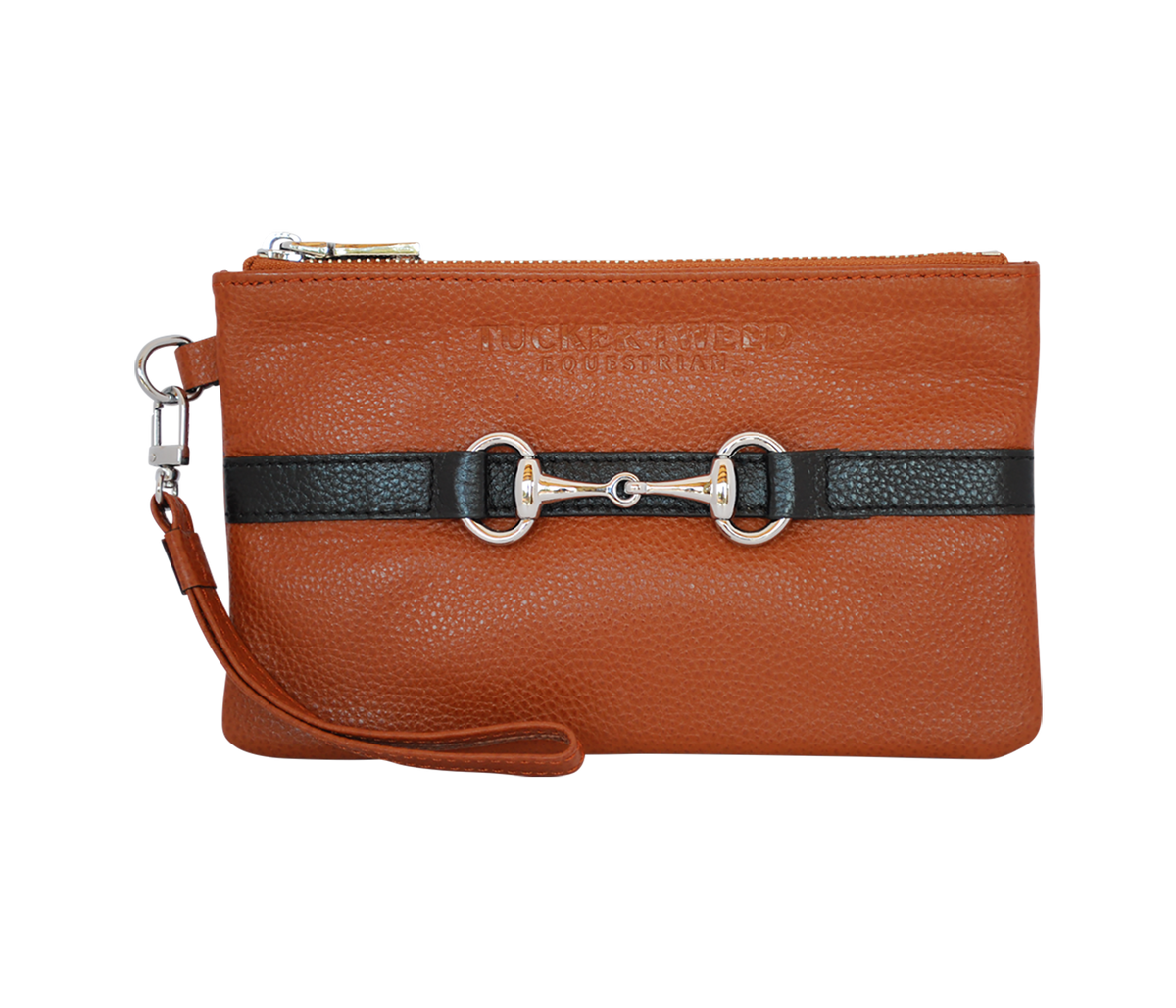 Tucker Tweed Leather Handbags Chestnut/Black The Wellington Wristlet
