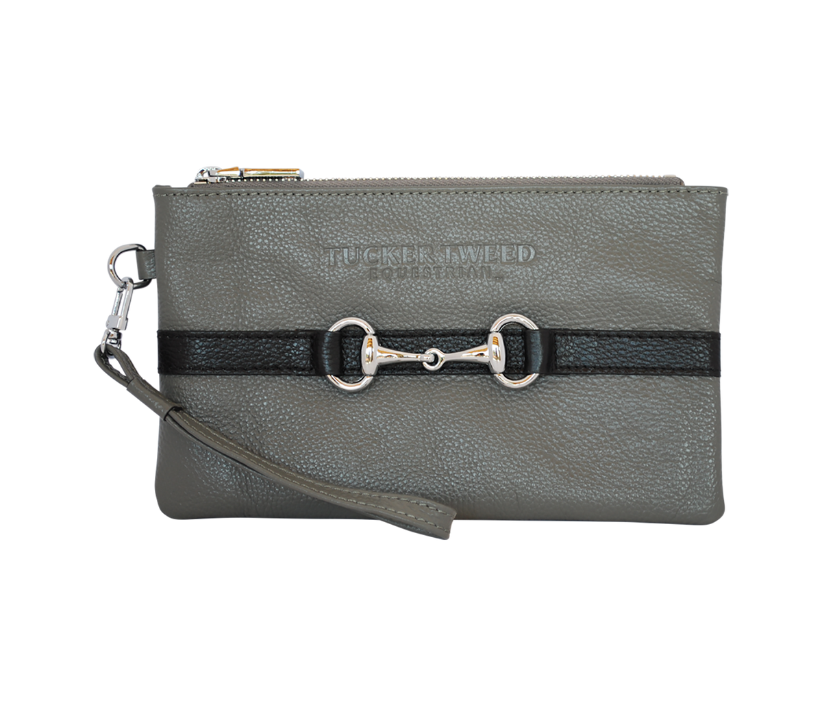 Tucker Tweed Leather Handbags Grey/Black The Wellington Wristlet